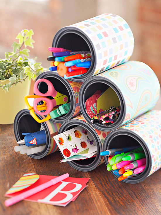 organizador latas recicladas
