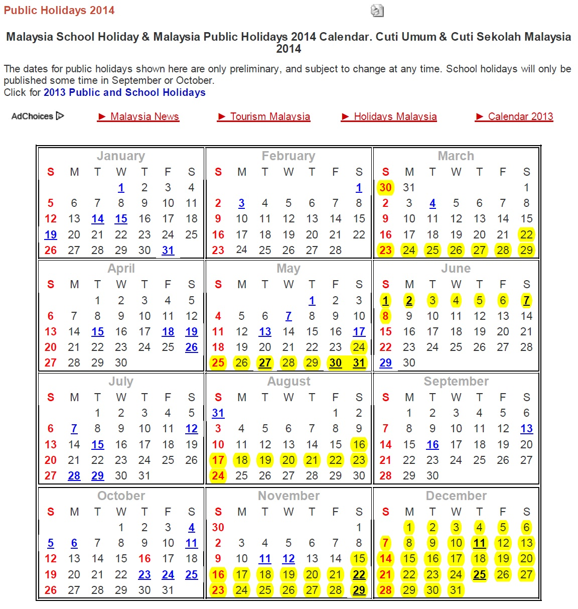 2014 Calendar with School Holiday