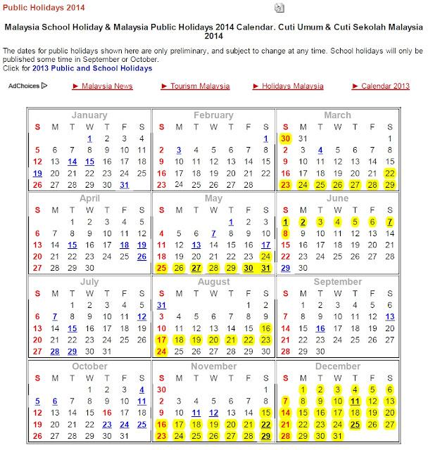 ramalan cuti sekolah tahun 2014 kalender cuti umum 2014 tapi