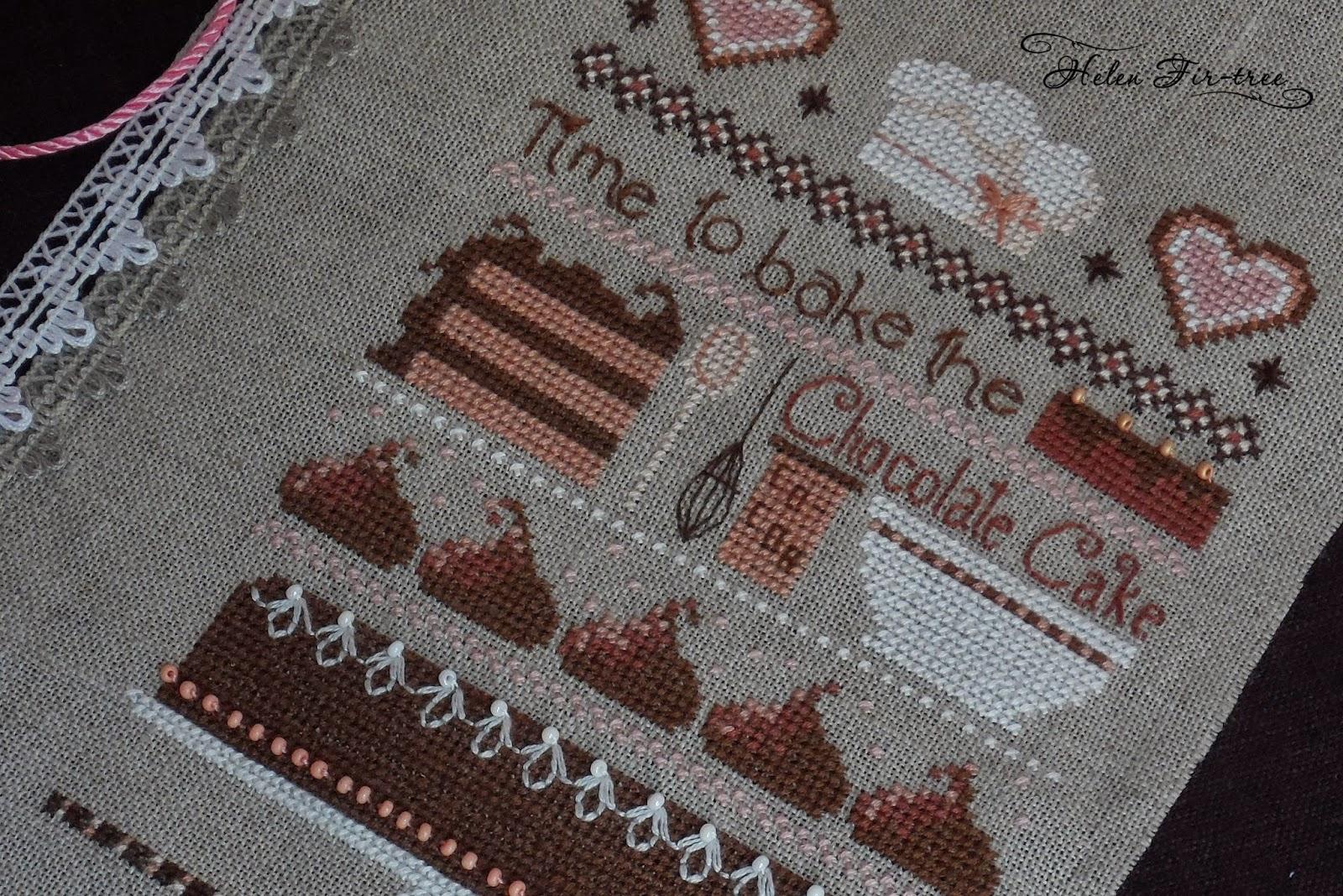 Helen Fir-tree вышивка блокнота embroidery notepad Chocolate cake sampler