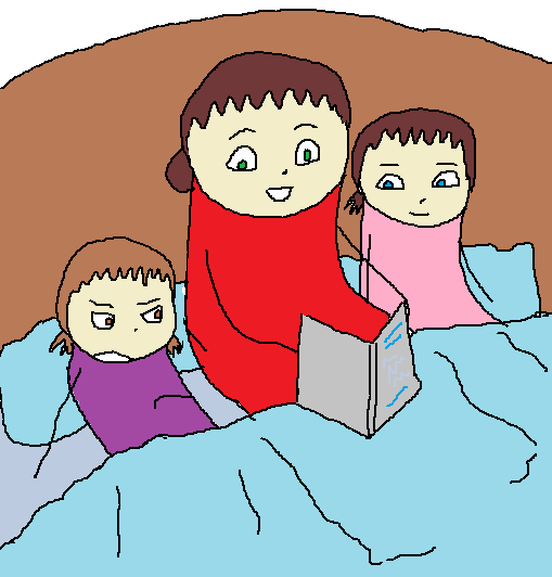 Me, my mom and my sister sitting on a bed.  My mom now looks happy reading the story.  I look bored.