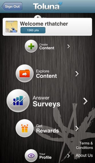 Toluna smartphone app for iPhone and Android