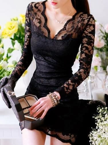 Black Long Sleeve Hollow Lace Curve Hugging Dress