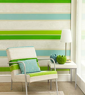 April Interiors: Easy Stripes on Textured Walls
