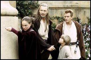 La amenaza fantasma. Natalie Portman, Liam Neeson, Jake Lloyd y Ewan McGregor