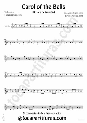 Tubescore Carols of the Bells sheet music for Violin traditional Christmas Carol Music Score