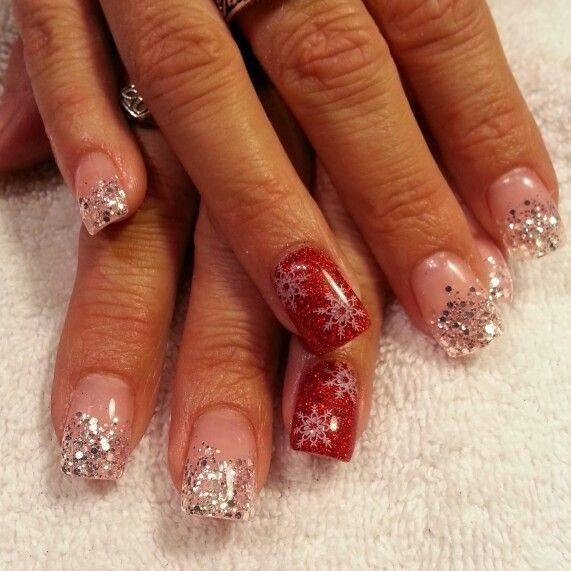Sculpted gel nails with silver glitz and red gel glitz with snowflakes for feats - Acrylic Nails.
