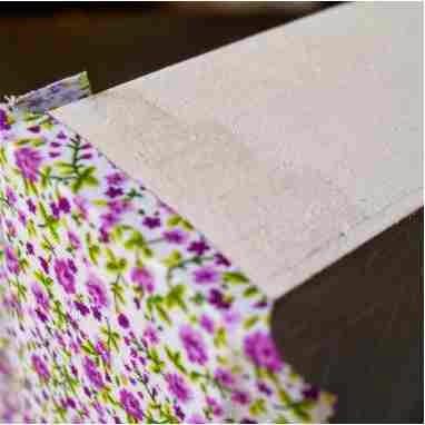 lateral da caixa forrada com tecido