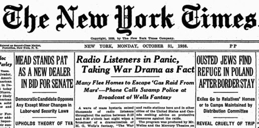 War of the Worlds newspaper headline