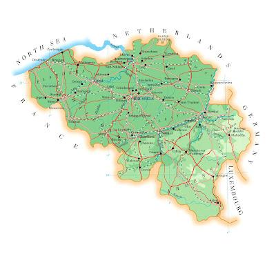 Map of Belgium Region Country