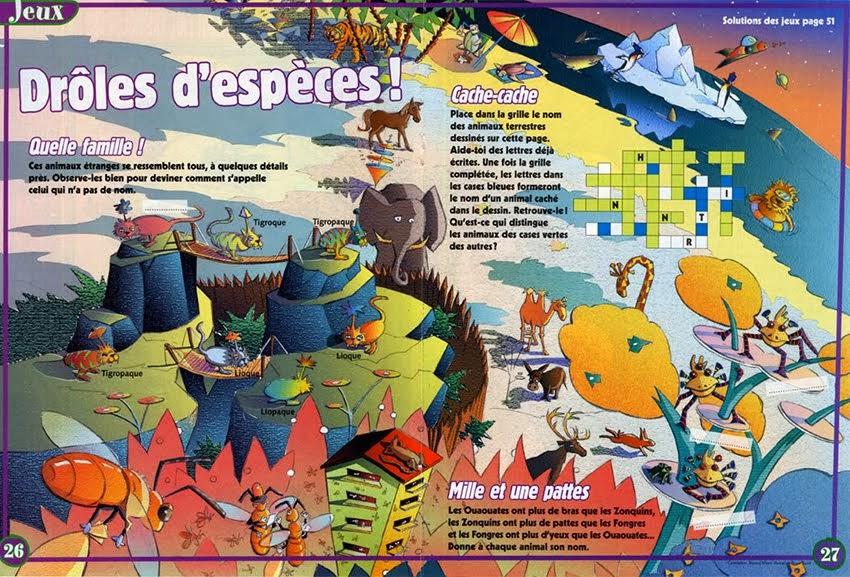 Double page de jeux Sciences et vie junior Technique: Crayon et numérique