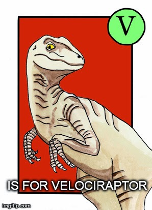 http://hometownunicorn.com/2012/01/11/u-is-for-ursula-v-is-for-velociraptor/