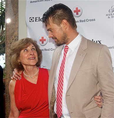 The national American Red Cross President and CEO Gail McGovern with handsome actor Josh Duhamel