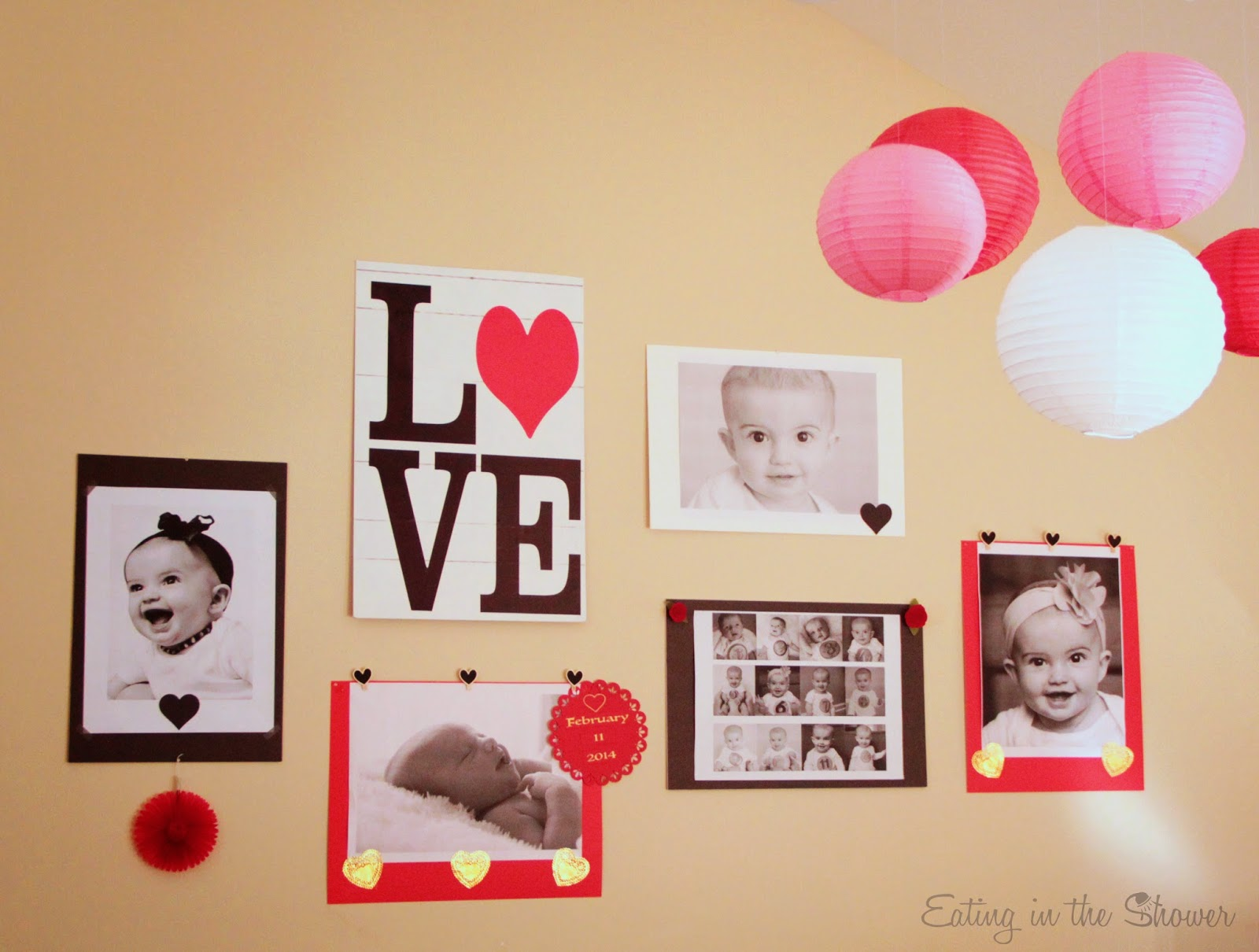 Decorating with giant photos for the Valentine's Day first birthday party