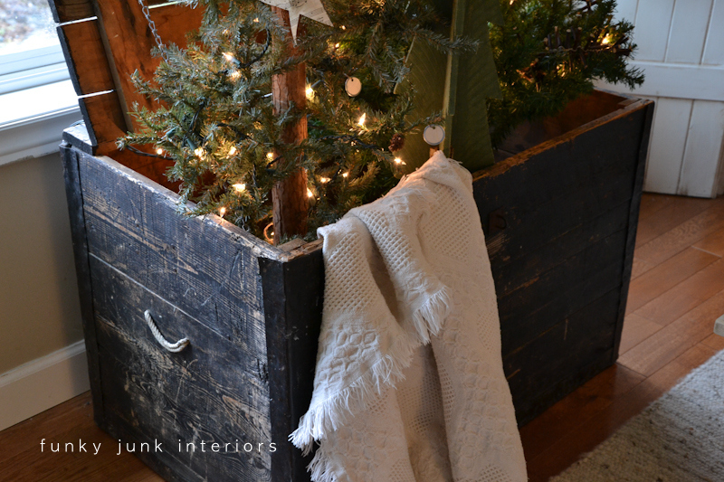christmas tree forest in a crate with a star theme via funky junk interiors - Christmas Tree In A Box