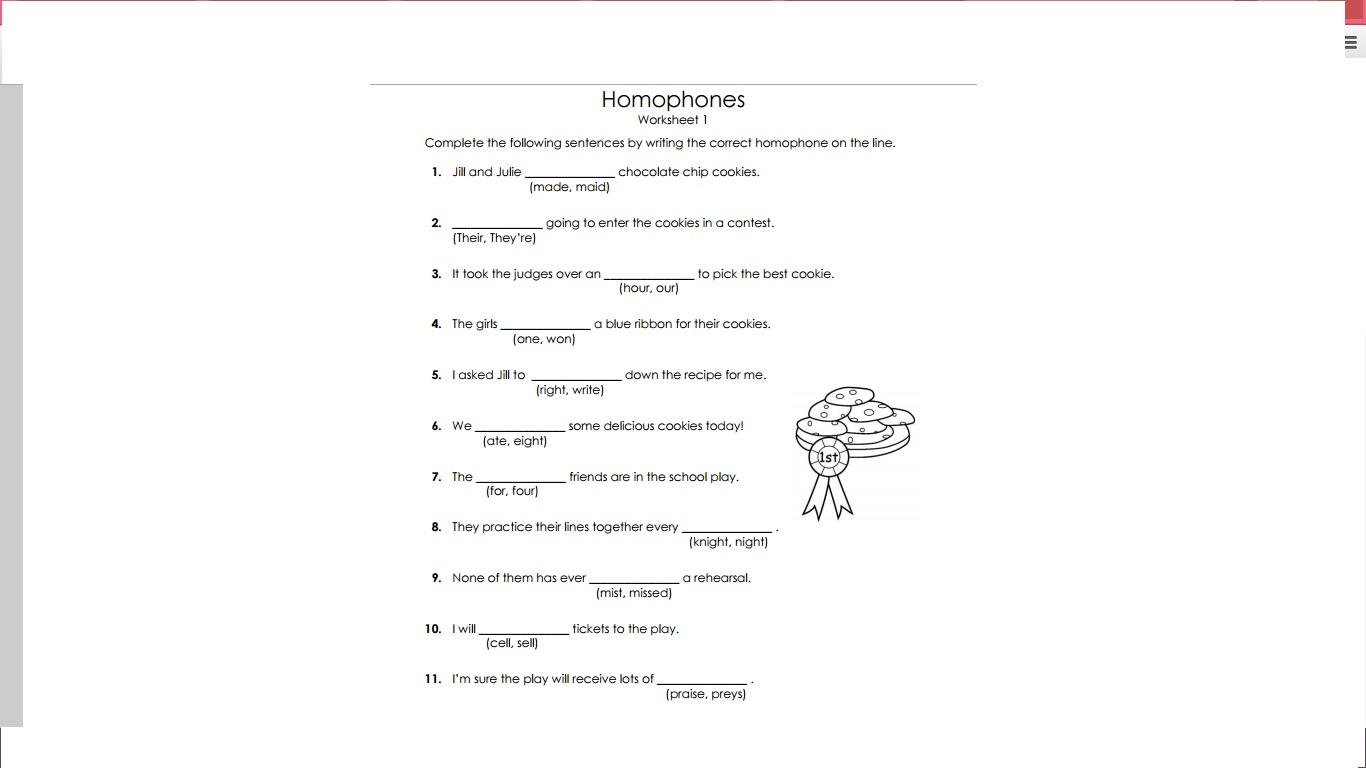 worksheet Homophone Worksheet apsg homophones worksheet 2 2