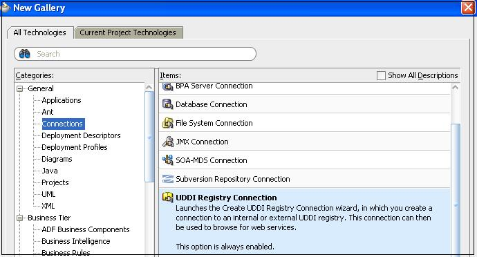 Publishing the services to oracle service registry through for Service registry