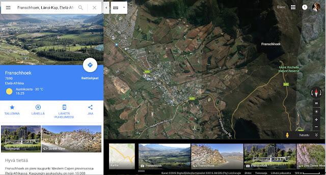 Franschhoekin kartta - www.blancdeblancs.fi
