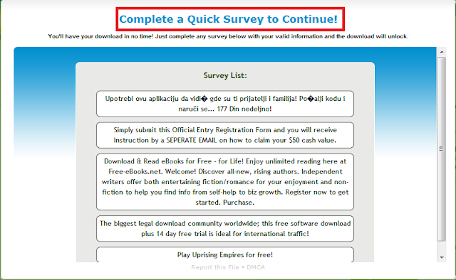 When you are prompted to take a survey, Right Click the title and ...