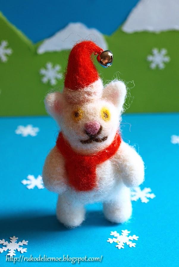 новогодние игрушки, кот из шерсти