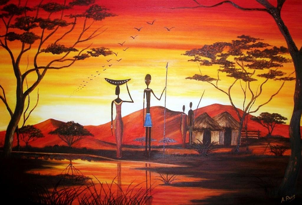 Pinturas cuadros lienzos pintura moderna africana de - Cuadros pintura acrilica moderna ...