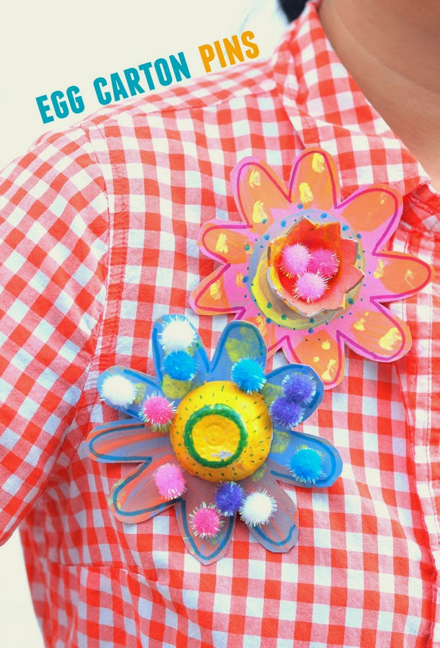 egg carton flower pins for mother's day