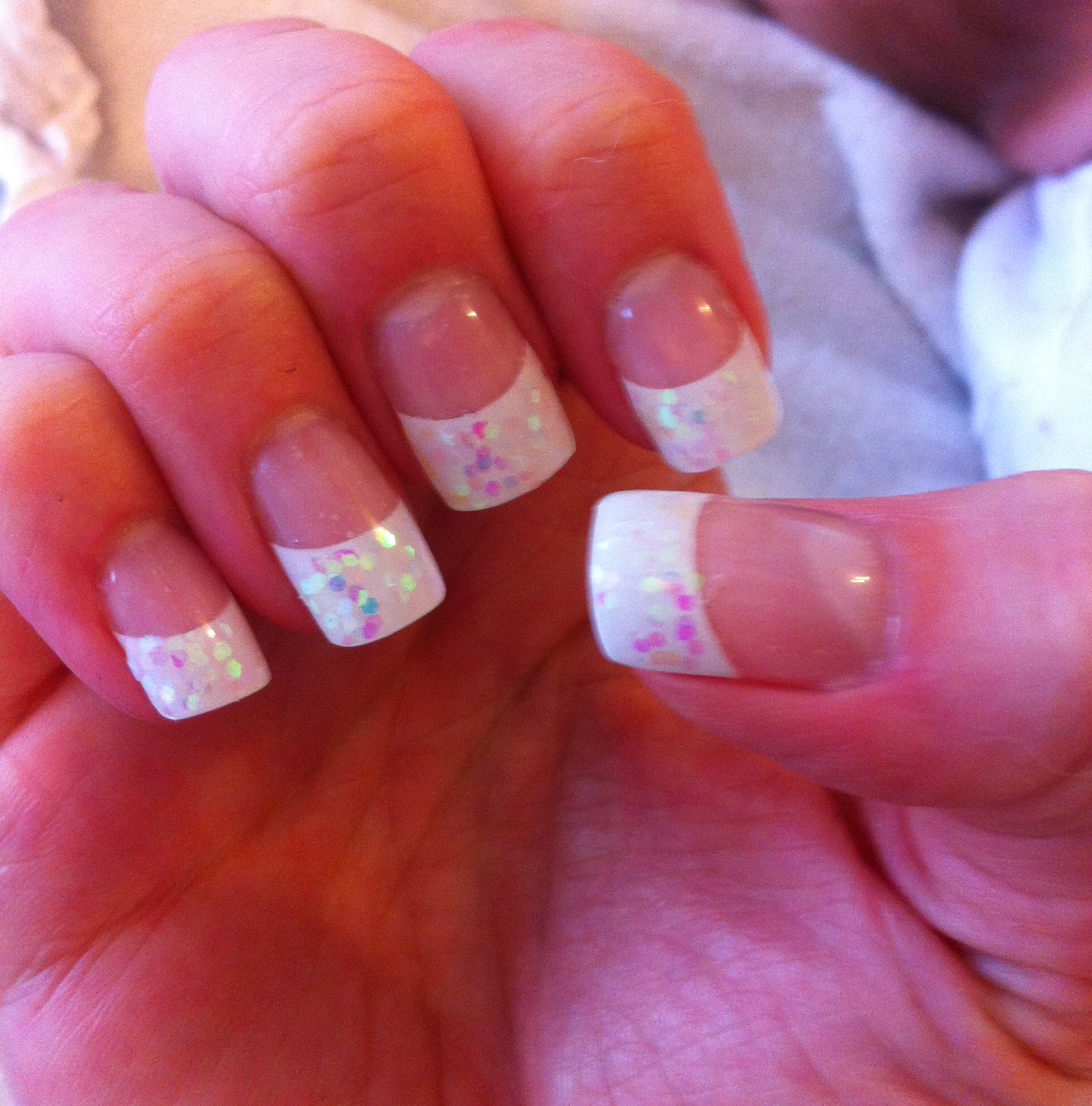 SHARON\'S NAIL ART!: French nails with white glitter tips
