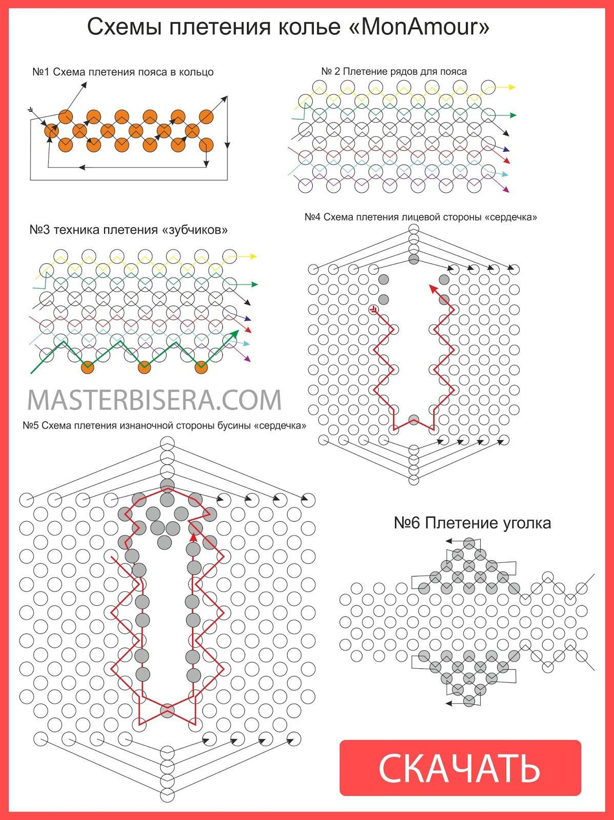 Подробные схемы плетения бисером