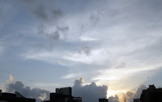 Clouds, Sky ,Sun, Evening, Scene