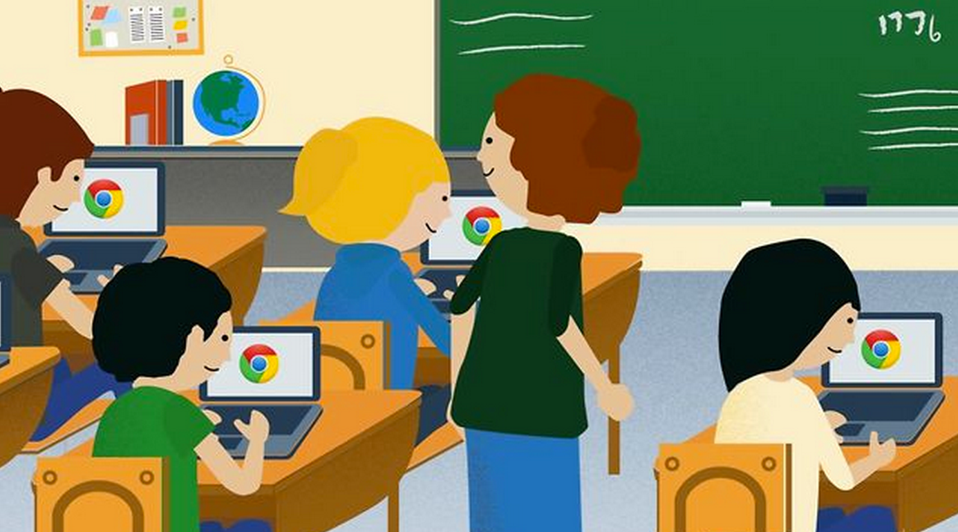 cartoon of kids using chromebooks
