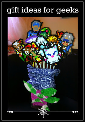 gifts for geeks, dorks, nerds, gamers, creative handmade gifts, father's day gift idea, perler hama bead final fantasy characters, beef jerky meat bouquet