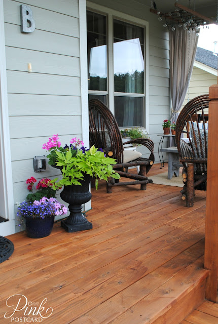 Farmhouse front porch makeover noble vintage for Stained front porch