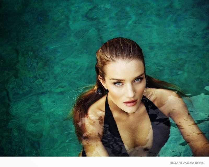 Rosie Huntington-Whiteley shows off swim looks for Esquire UK April 2015
