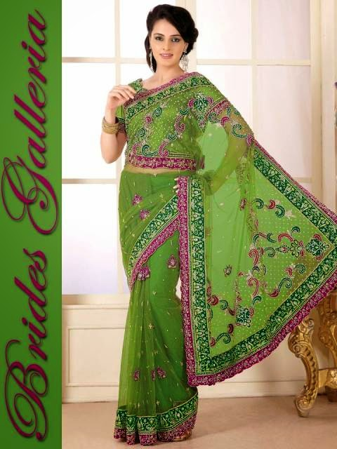 Colorful hand embroidery designs of sarees for party wear