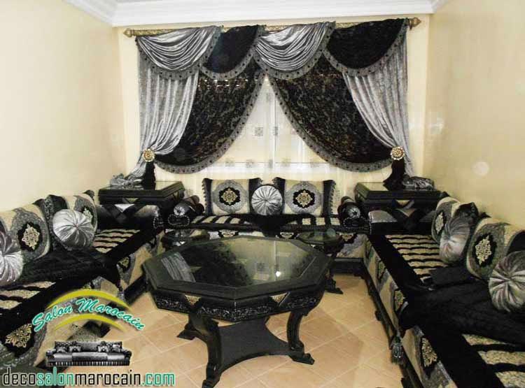 Salon marocain gris noir confortable