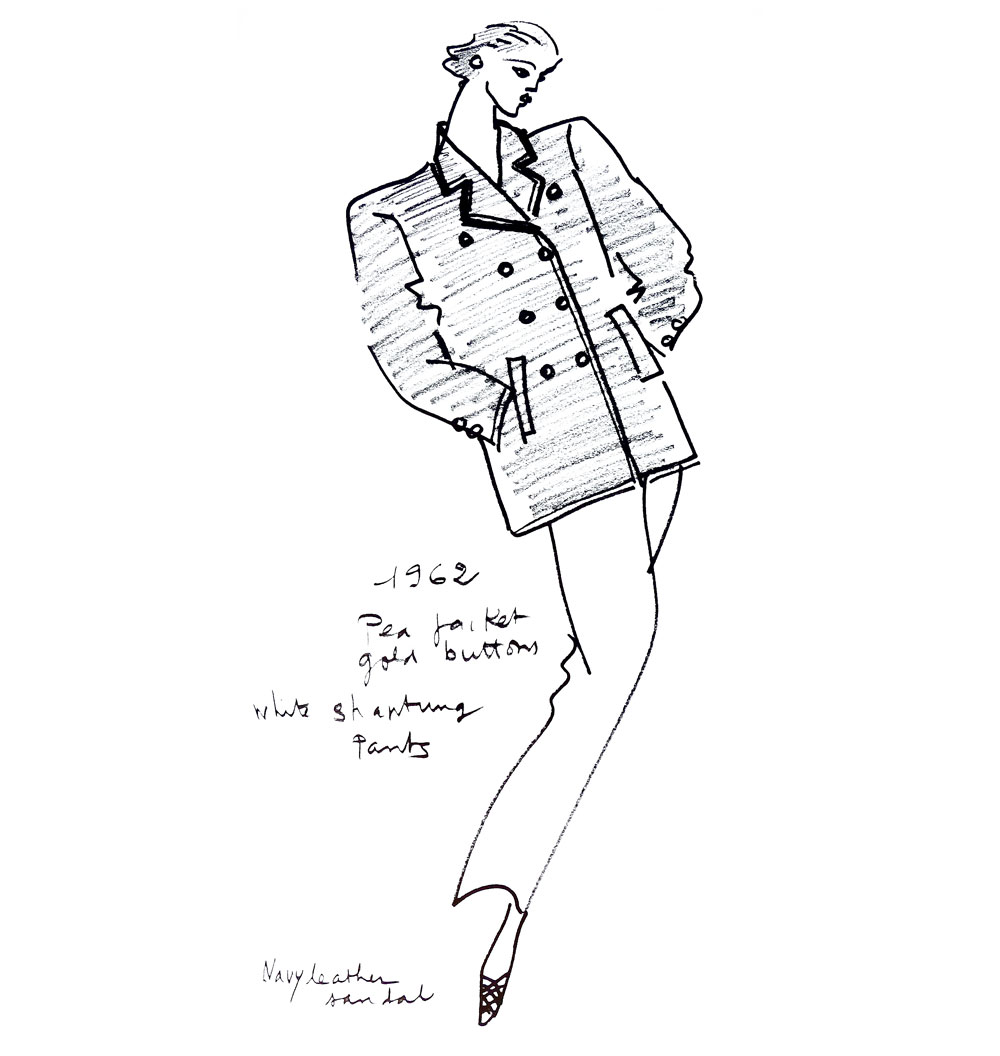 sketch of a pea jacket of navy blue wool, white silk blouse and trousers for Spring/Summer 1962 collection