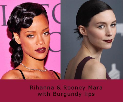 Rihanna & Rooney wearing Burgundy on lips nyx burgundy lip gloss