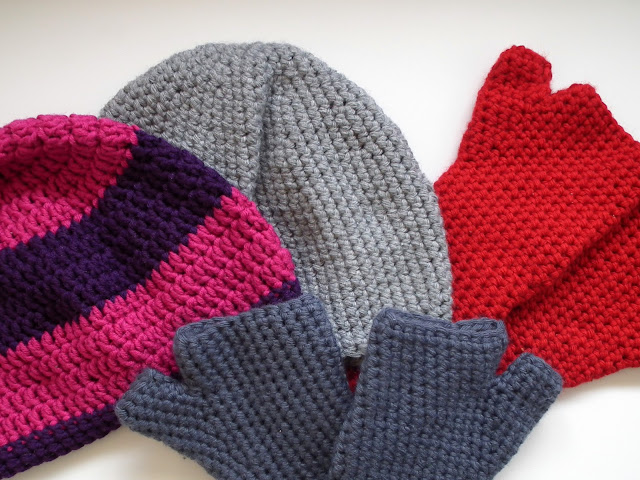 Crochet, mittens, beanie