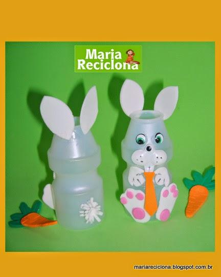 Artesanato Feito Com Juta Passo A Passo ~  Maria Reciclona  Páscoa chegando Que tal fazer simpáticos coelhinhos com embalagens de
