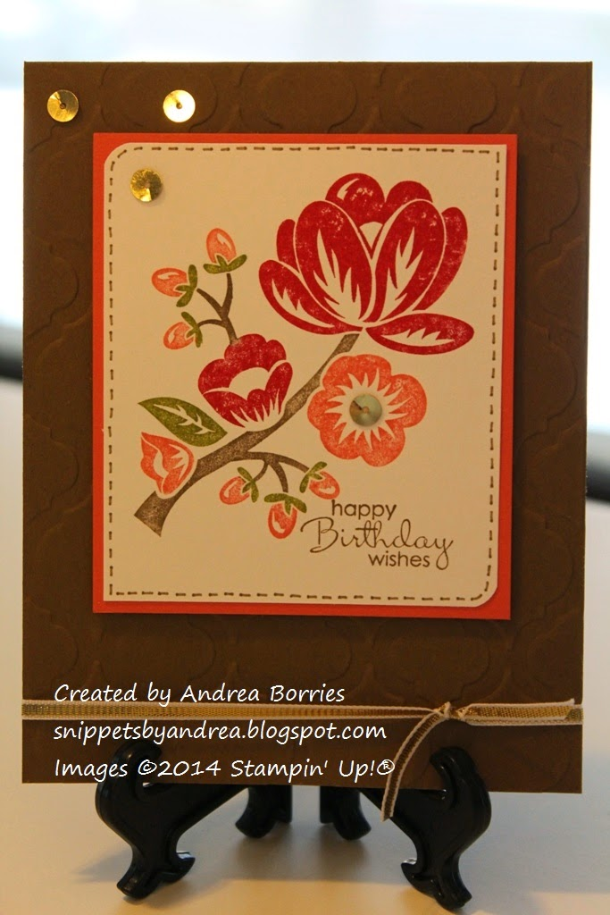 Card featuring Hey There Buds flower image, Modern Mosaic-embossed background and gold accents.