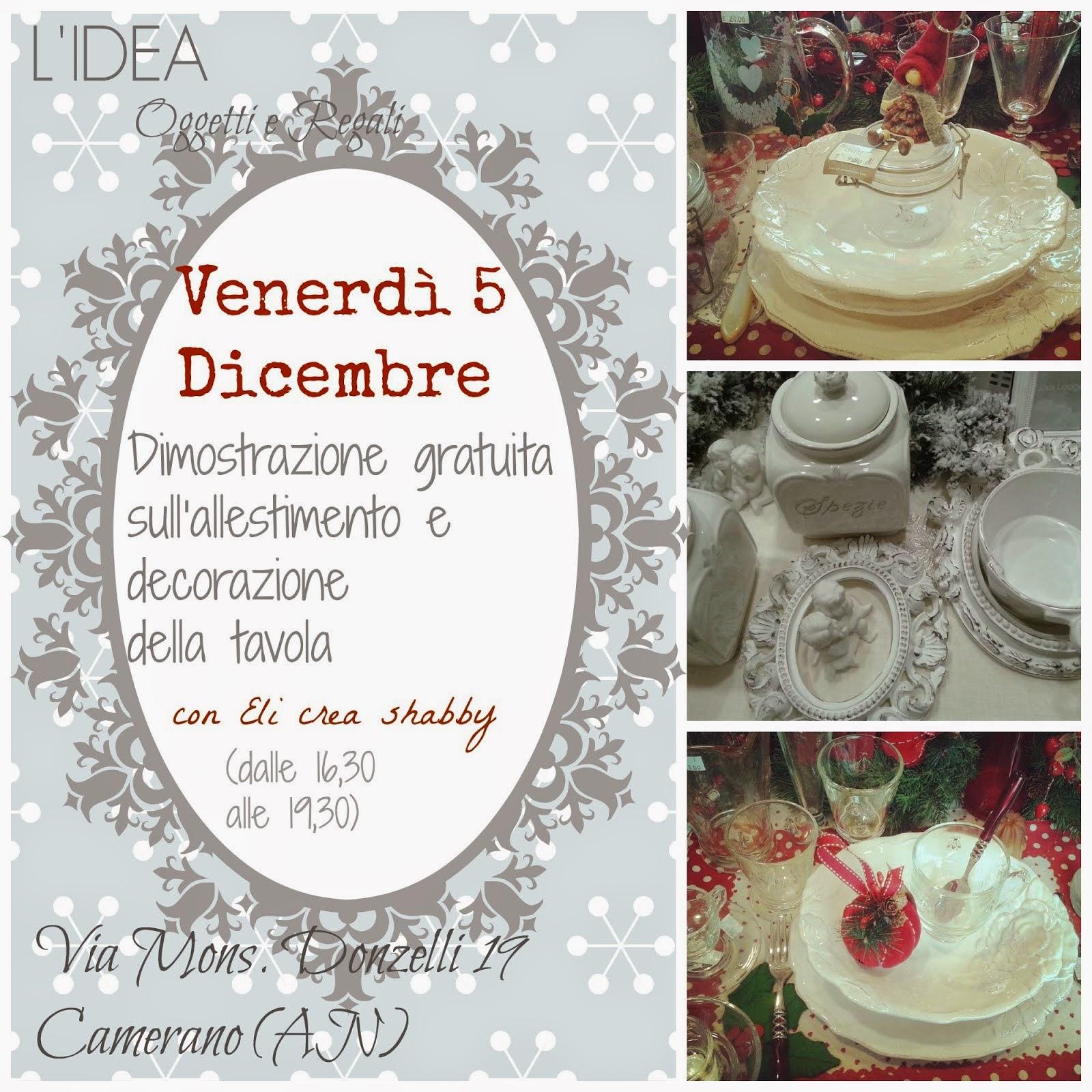 """Venerdì 5 Dicembre """"Dimostrazione gratuita sull'allestimento e decorazione della tavola"""""""