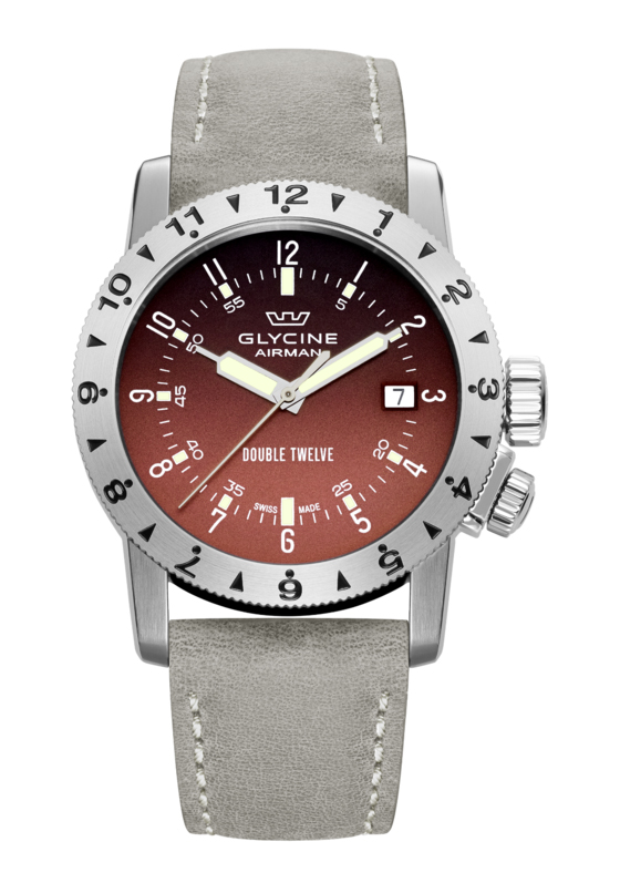 Glycine Airman Double Twelve quadrante rosso