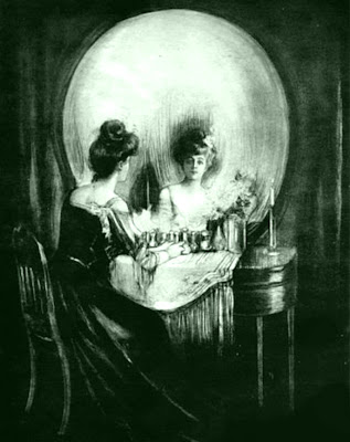 Coincidence photo - Woman gazing into boudoir mirror forms shape of skull
