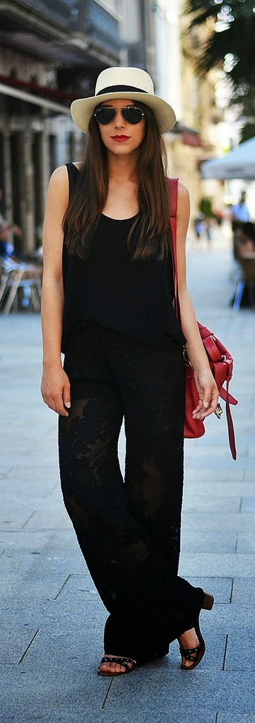Black Sexy Lace Plazzo with Black top and Leather Bag | Summer Street Styles