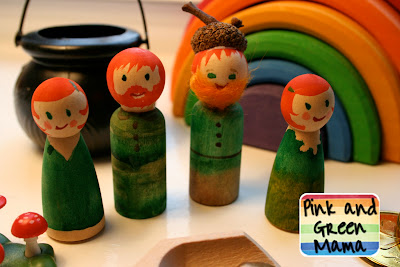 Pink and Green Mama Blog St. Patrick's Day Peg Dolls