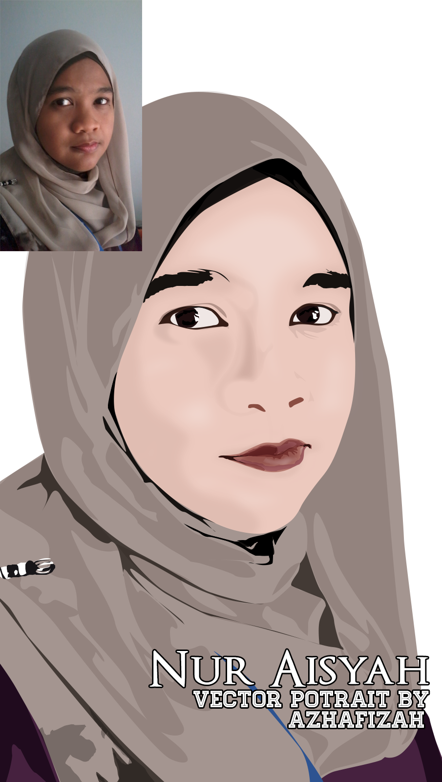 Artwork Vector Potrait Blogger Nur Aisyah a k a N A T