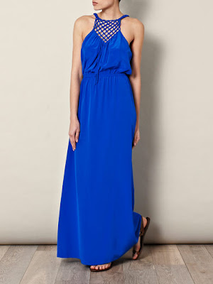 Bright blue maxi dress, designer label