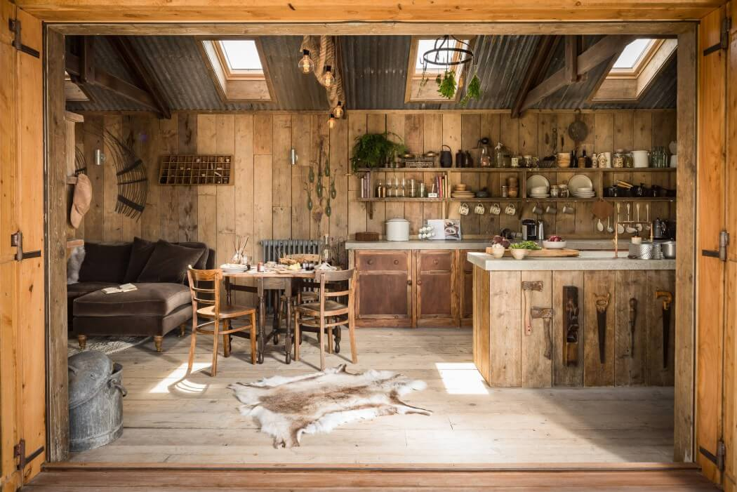 Caba a de madera decorada con estilo r stico - Decoracion de casas rusticas pequenas ...