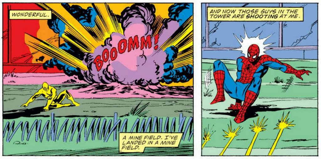 Great Spider Man es busting through a hotel window the second time he us brazenly destroyed property by jumping through it in this story alone on the trail of
