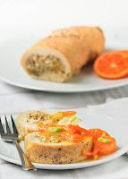 Pollo relleno con salsa de mandarinas